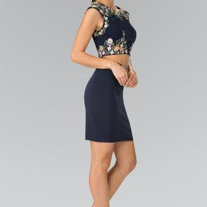 Navy Sheath Party Short Dress